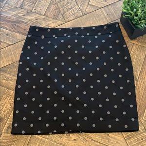 LOFT Black Dot Skirt NWOT